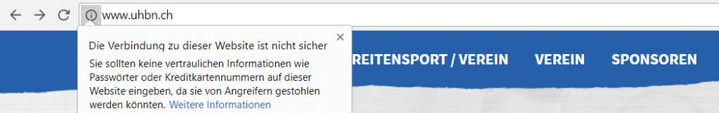 Google Chrome zeigt die unsichere Verbindung an