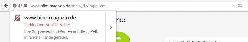 Firefox zeigt Warnhinweise auf Seiten mit Passwortabfragen wenn keine SSL Verschlüsselung vorhanden ist